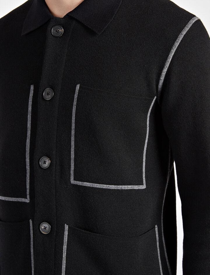 Bonded Cashmere Workwear Jacket, in BLACK, large | on Joseph