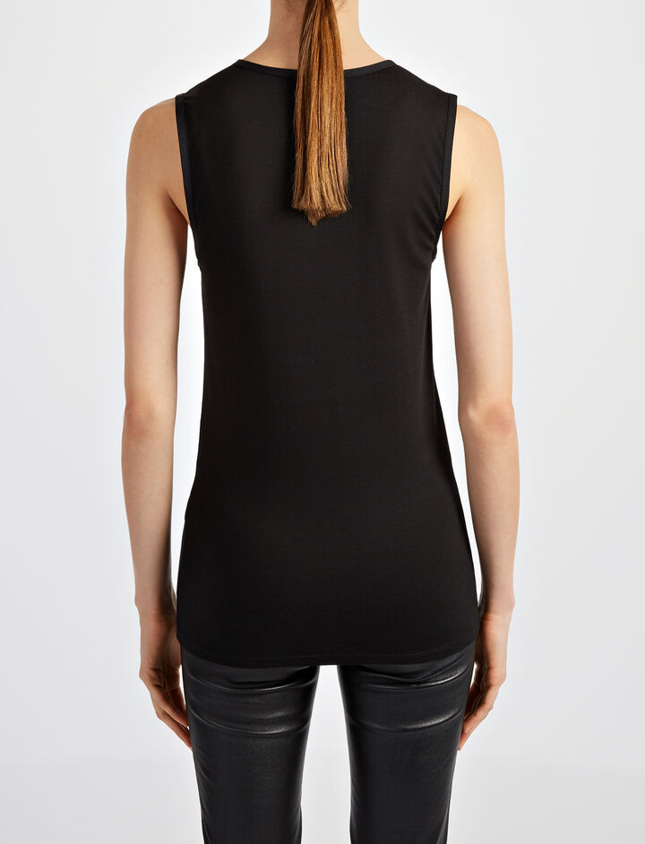 Cotton Lyocell Stretch Tank, in BLACK, large | on Joseph