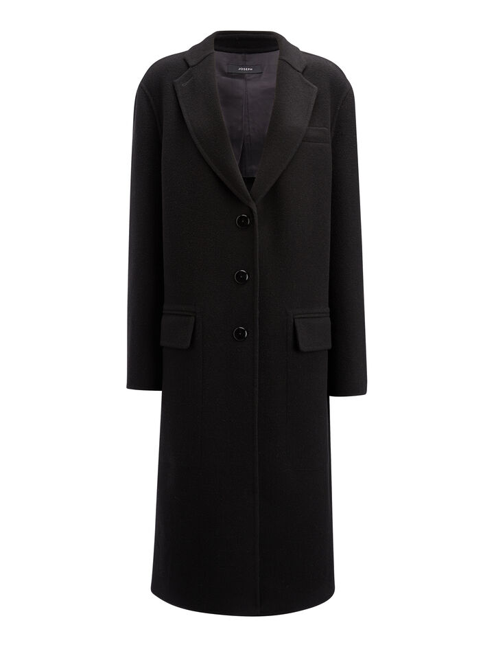 Manteau Simo en laine double face, in BLACK, large | on Joseph