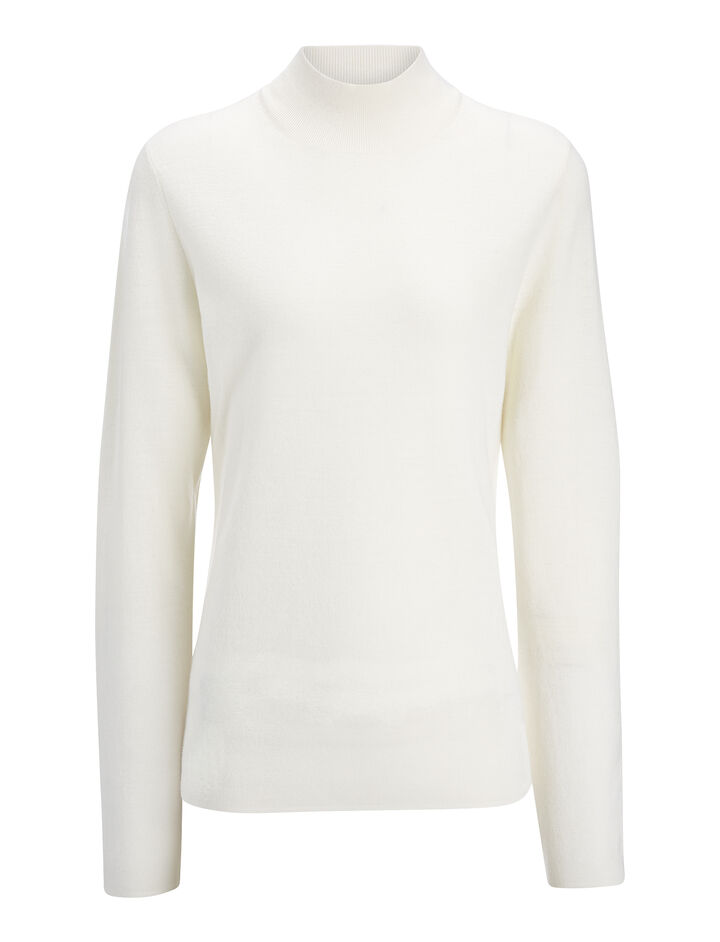 Superfine Merinos High Neck Top, in BONE, large | on Joseph