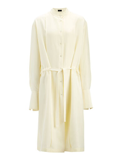 Parachute Silk Victor Dress, in BUTTER, large | on Joseph