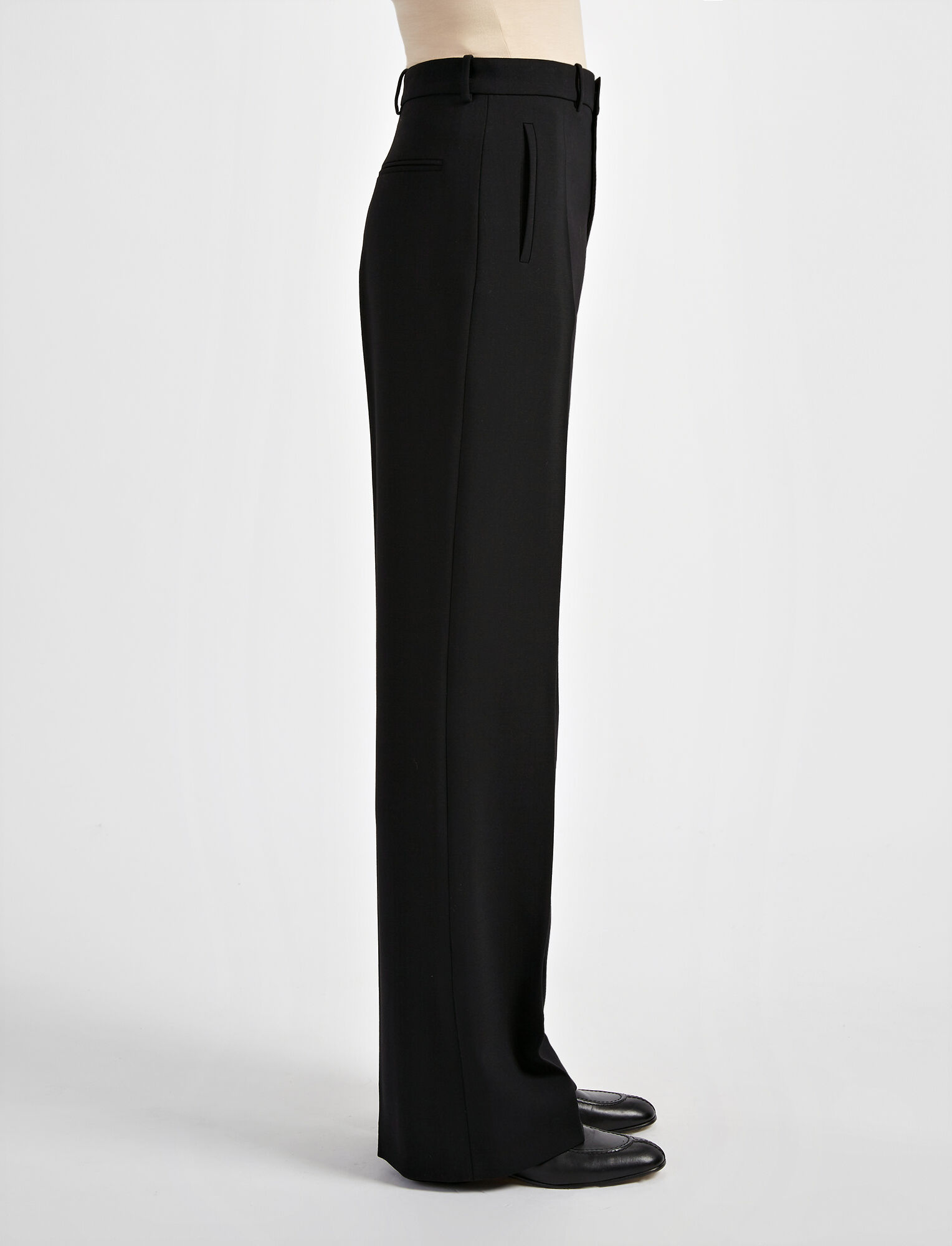 Pantalon Ferguson en laine stretch, in BLACK, large | on Joseph