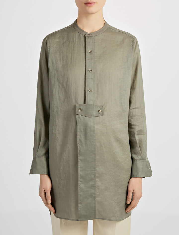 Ramie Voile Bernie Blouse, in FATIGUE, large | on Joseph