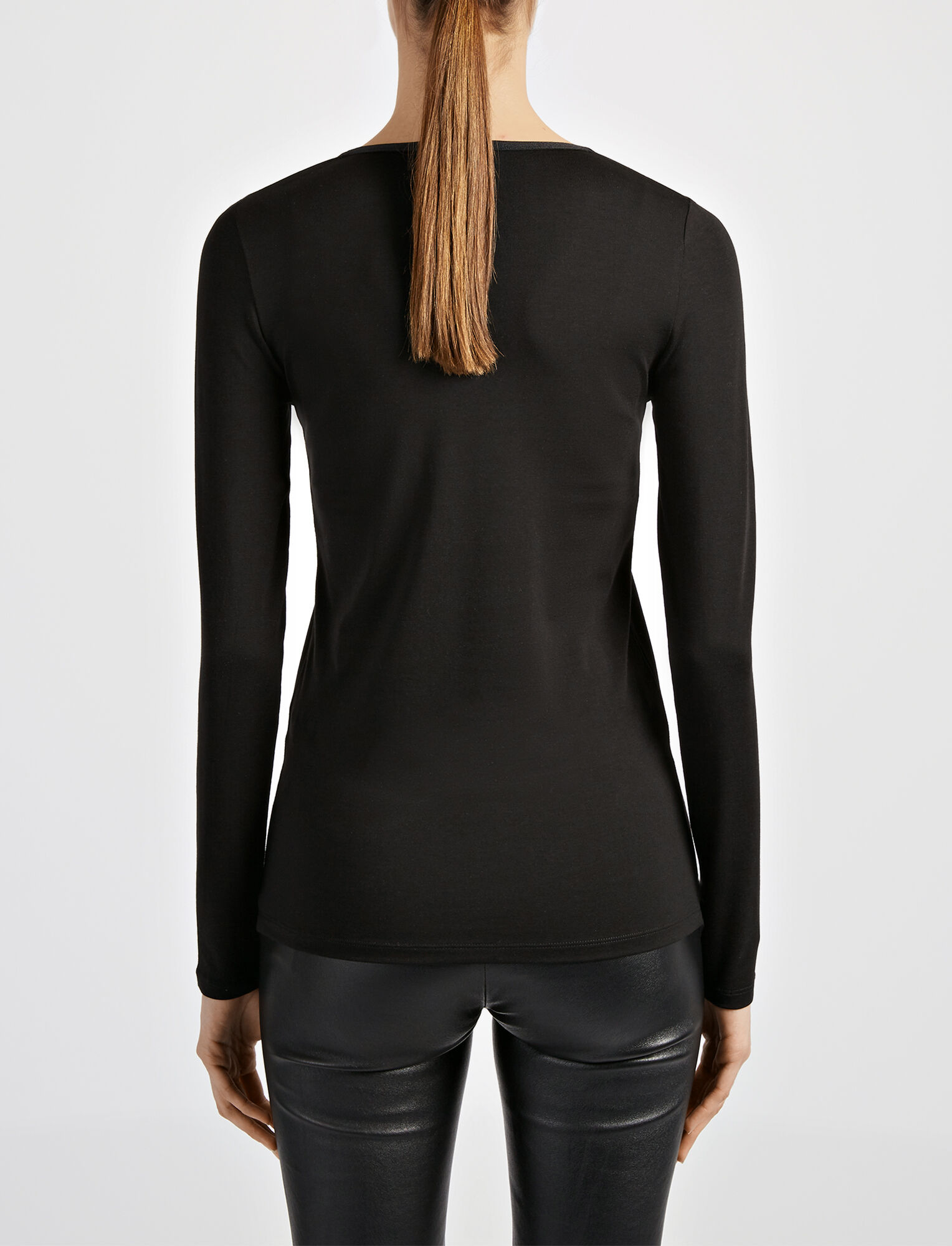 Cotton Lyocell Stretch V Neck Top, in BLACK, large | on Joseph