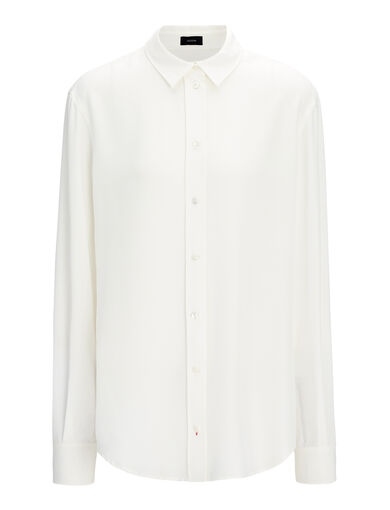 Silk Rib New Garcon Blouse, in OFF WHITE, large | on Joseph