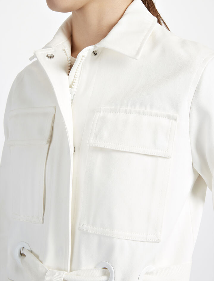 Raso Cotton Ross Jacket, in CHALK, large   on Joseph