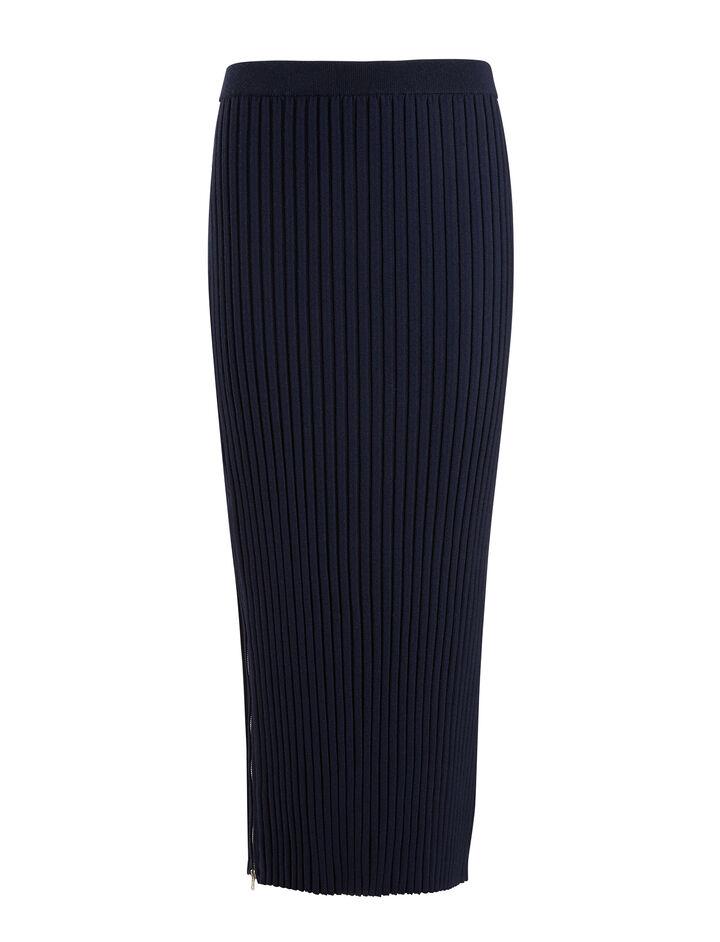 Merinos-rib Skirt, in NAVY, large   on Joseph