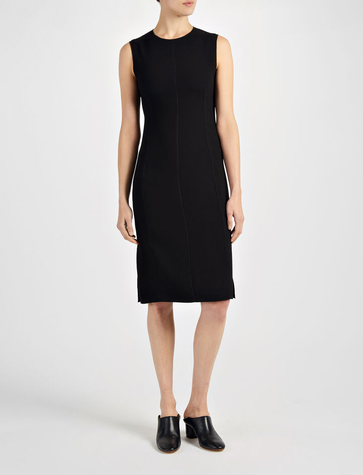 Crepe Stretch Sadie Dress, in BLACK, large | on Joseph