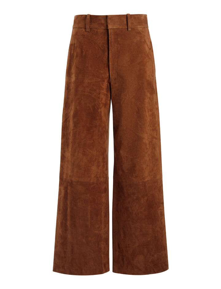 Suede Stretch Ferrandi Crop Trousers, in RUST, large | on Joseph