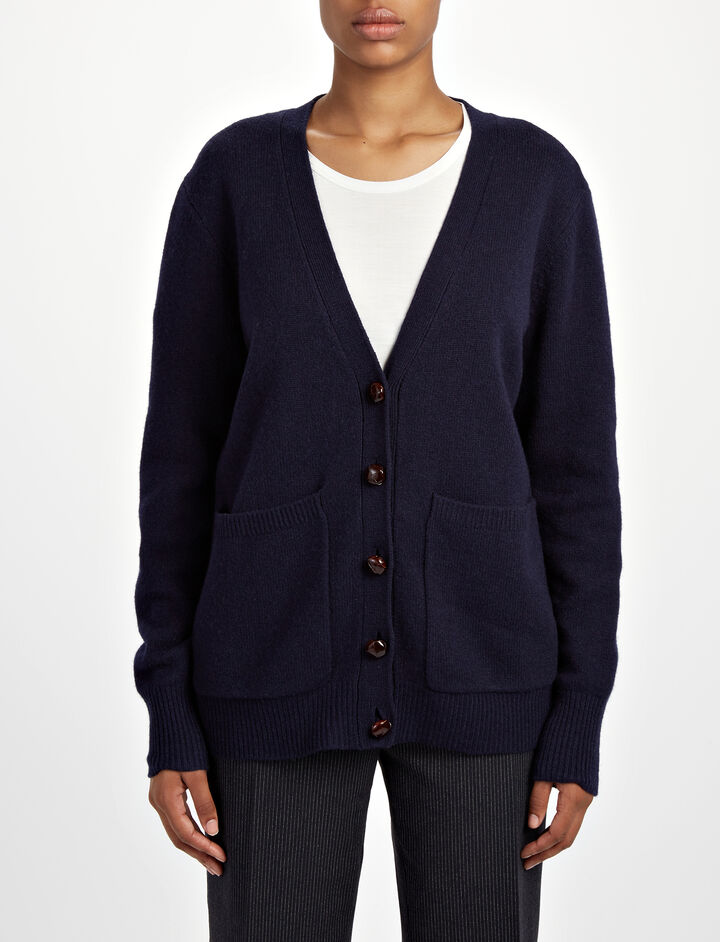 Soft Wool Boyfriend Cardigan, in NAVY, large | on Joseph