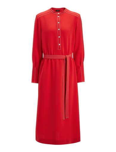 Robe Grace en stretch flou, in RUBY, large | on Joseph