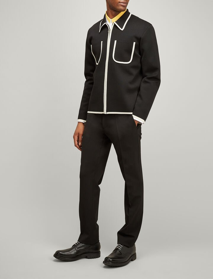 Nylon Milano Zip Cardigan, in BLACK, large | on Joseph