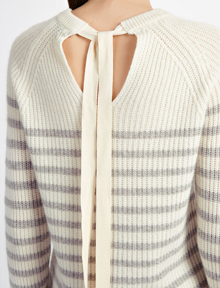 Sailor Stripe Cashmere Sweater, in GREY CHINE, large | on Joseph