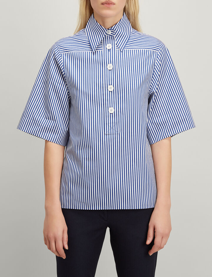 Candy Stripe Cotton Shirt, in NAVY, large | on Joseph