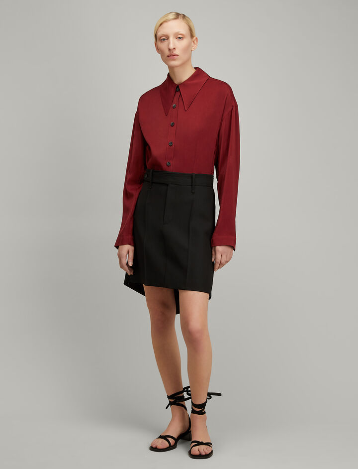 Joseph, Viscose Silk Reuben Blouse, in RUBY
