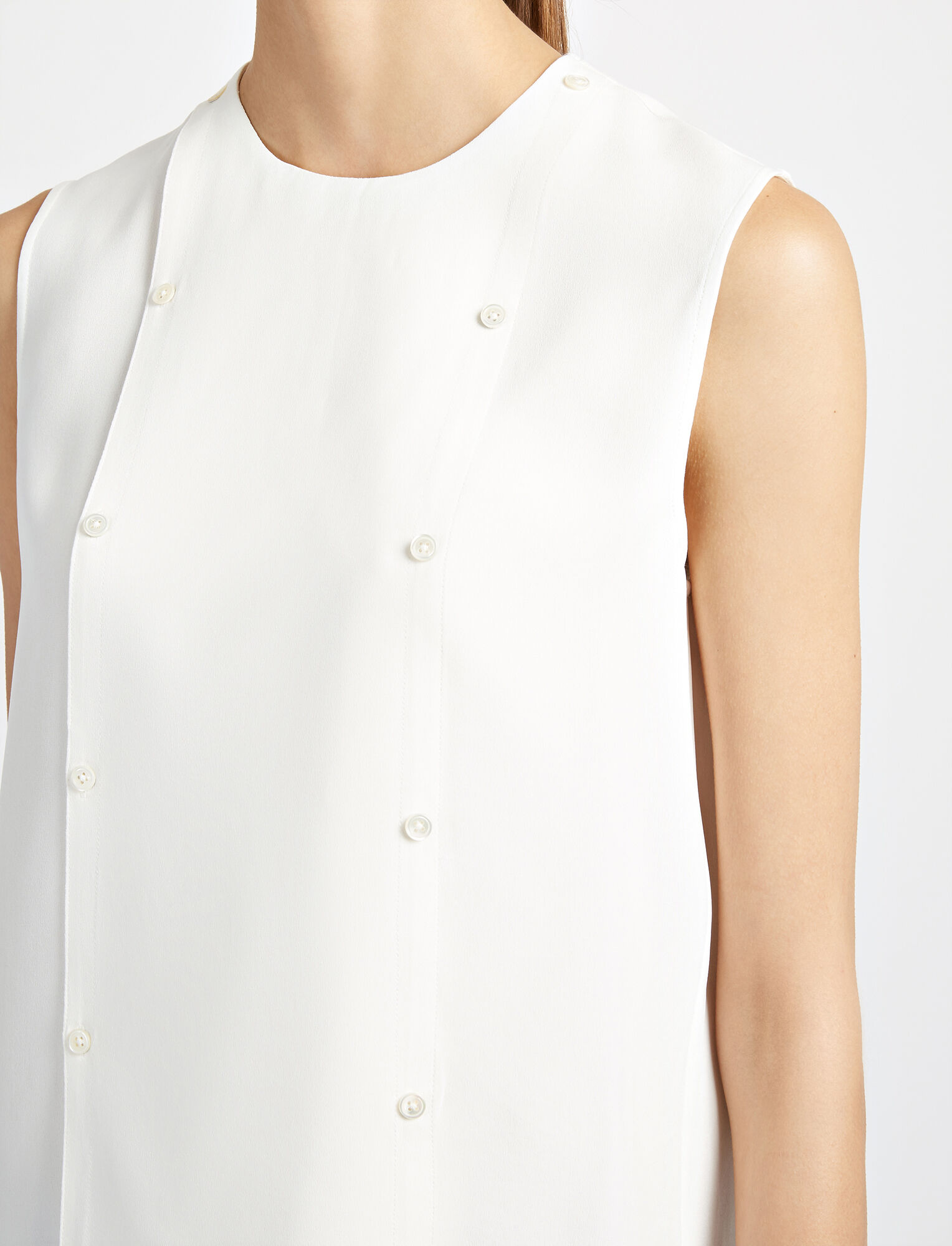 Matt Silk Bell Blouse, in OFF WHITE, large | on Joseph