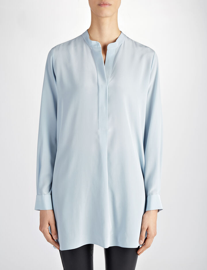 Crepe de Chine Lara Blouse, in POWDER BLUE, large | on Joseph