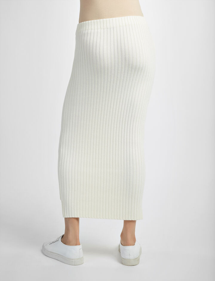 Wool Viscose Rib Long Skirt, in BONE, large   on Joseph
