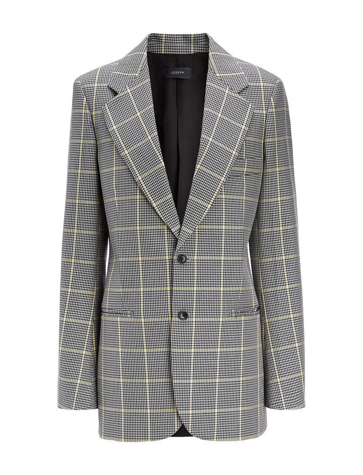 Joseph, Prince of Wales Check Grimaud Blazer, in GREY/BLACK