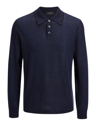 Light Merinos Polo, in NAVY, large | on Joseph