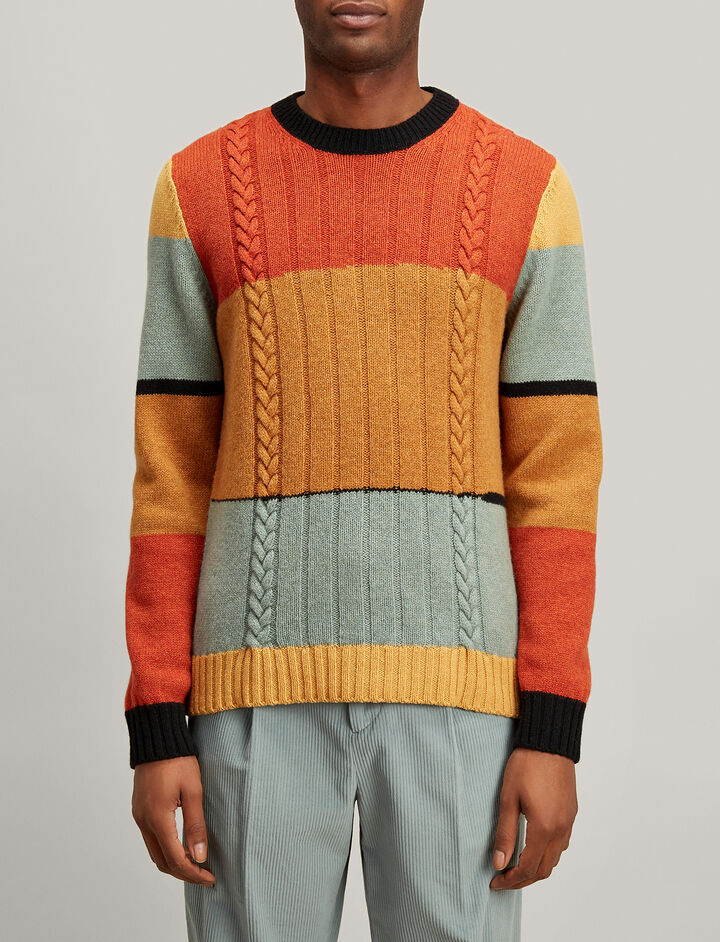 Joseph, Multicolour Intarsia Sweater, in MULTICOLOUR