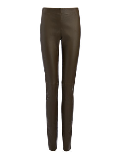Legging en cuir stretch, in KHAKI, large | on Joseph