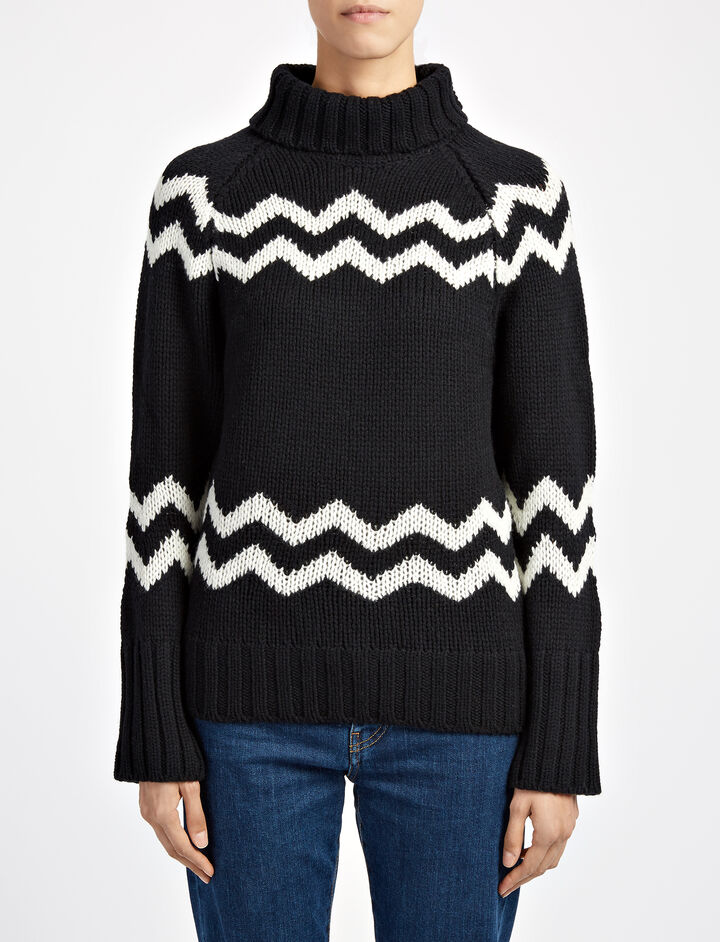 Chunky Intarsia High Neck Sweater, in BLACK, large | on Joseph