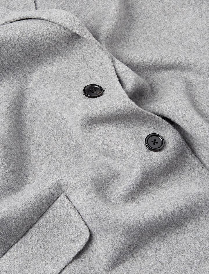 Light Double Cashmere Sido Short Coat, in GREY CHINE, large | on Joseph