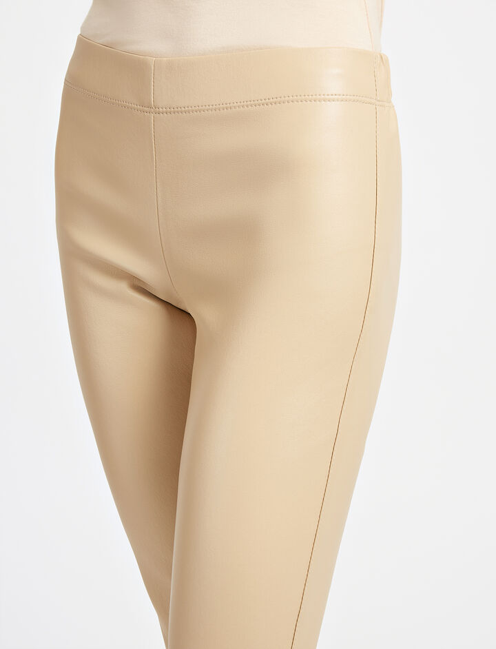 Leather Stretch Legging, in CAMEL, large | on Joseph