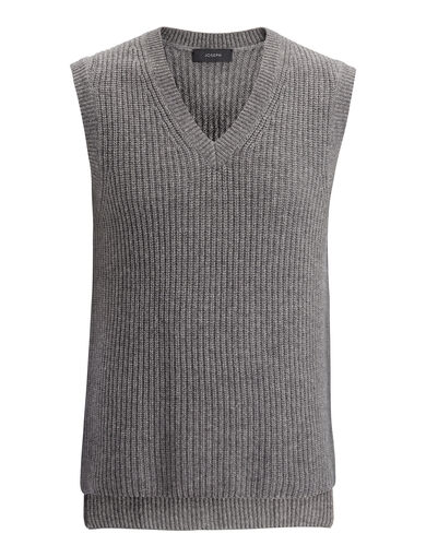 Cardigan Cashmere V Neck Sweater, in GRAPHITE, large | on Joseph