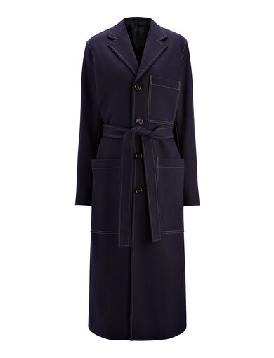 Manteau Mag en whipcord, in NAVY, large | on Joseph