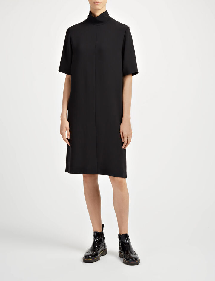 Viscose Cady Anya Dress, in BLACK, large | on Joseph