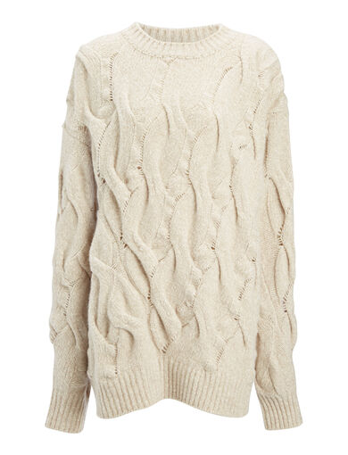 Twisted Cable Knit Sweater, in BONE, large | on Joseph