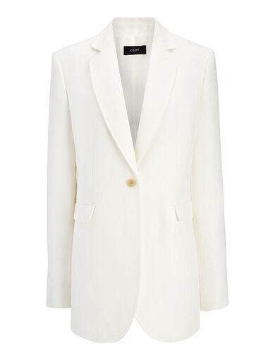 Linen Twill Laurent Jacket, in OFF WHITE, large | on Joseph