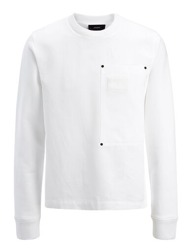 Linen Cotton and Sweatshirt Top, in WHITE, large | on Joseph