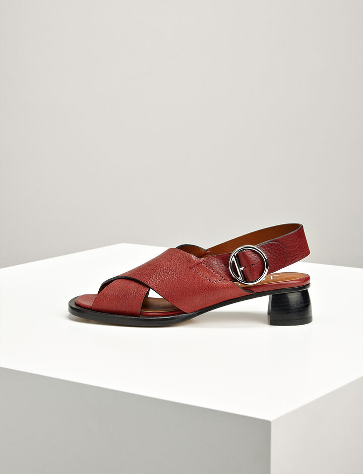 Joseph, Leather Cross Sandal, in BURGUNDY