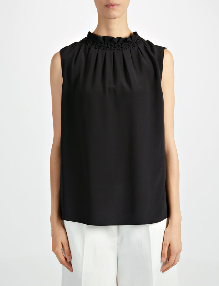 Crepe de Chine Gill Sleeveless Blouse, in BLACK, large | on Joseph