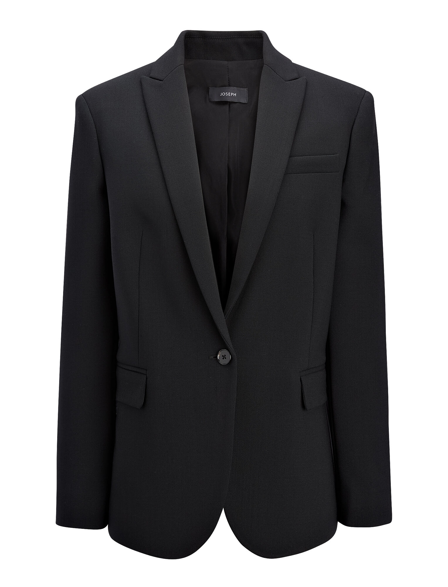 Stretch Wool Savoy Jacket, in BLACK, large | on Joseph