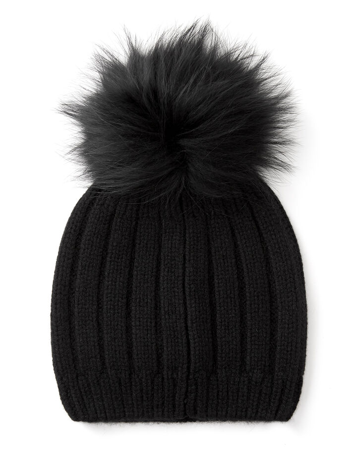Cashmere Luxe Pompon Hat, in BLACK, large | on Joseph