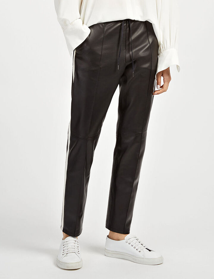 Matt Nappa Leather Base Trousers, in BLACK/BONE, large | on Joseph