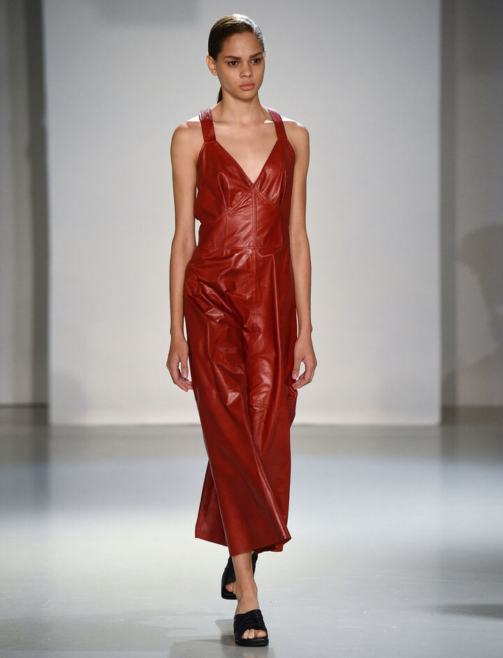 Paper Leather Greer Dress, in RUBY, large | on Joseph