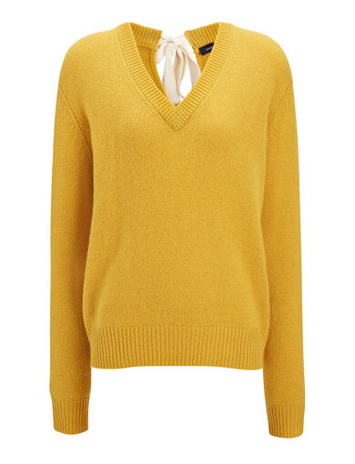 Open Cashmere V Neck Top, in OCHRE, large | on Joseph