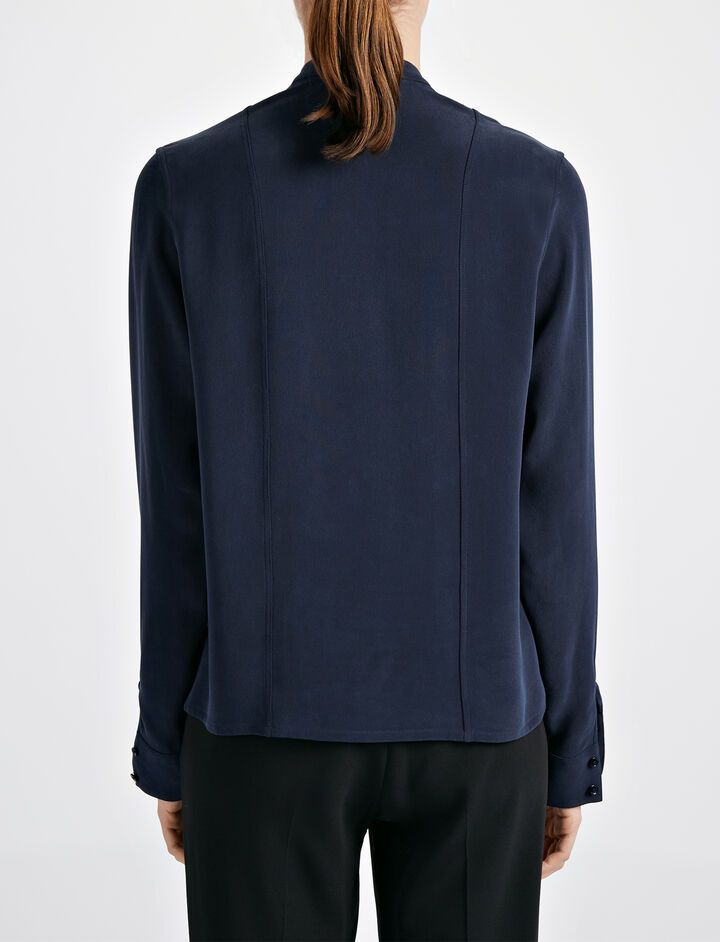 Matt Silk Jerry Blouse, in NAVY, large | on Joseph