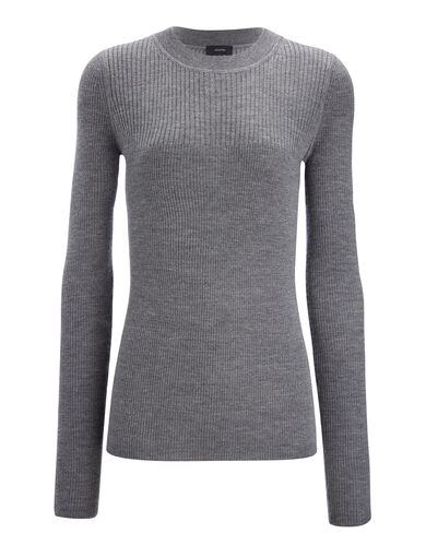 Wool Silk Cashmere Rib Top, in GRAPHITE, large | on Joseph