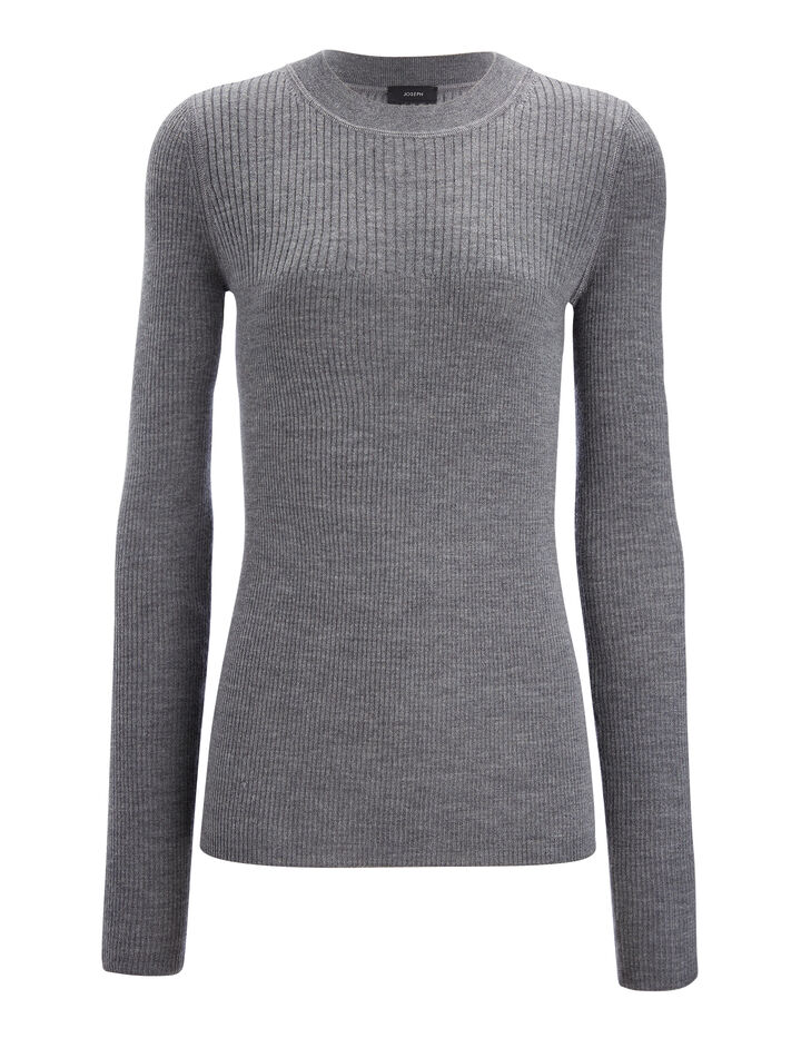 Joseph, Wool Silk Cashmere Rib Top, in GRAPHITE