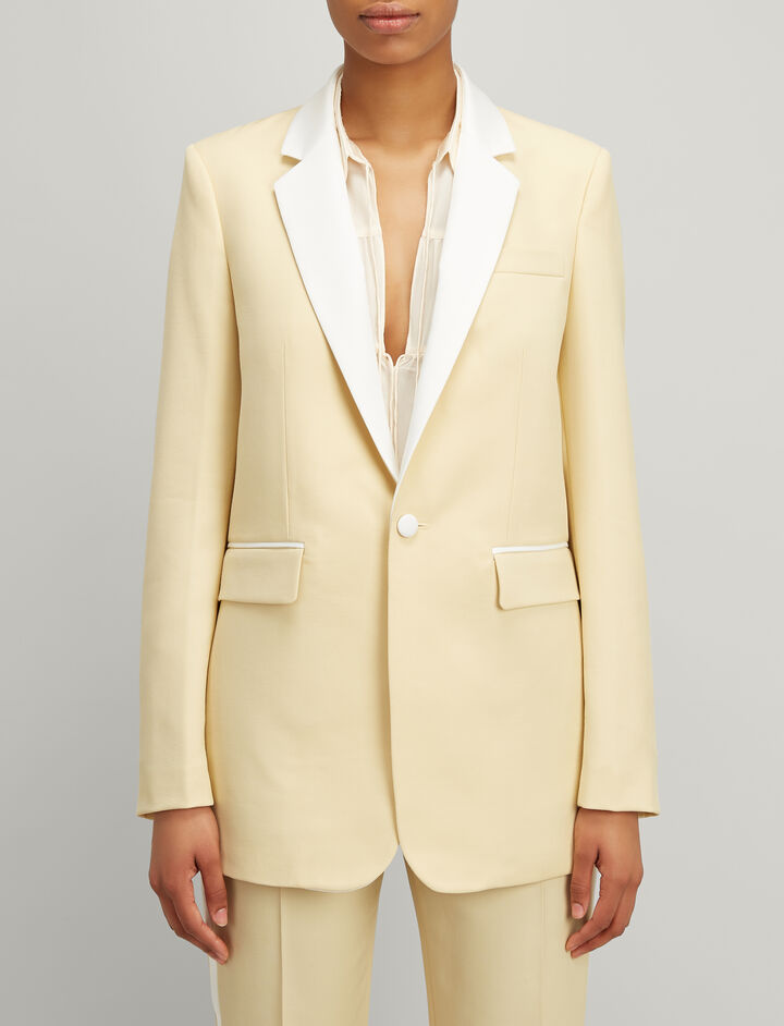 Grain de Poudre Jan Tuxedo Jacket, in CUSTARD, large | on Joseph