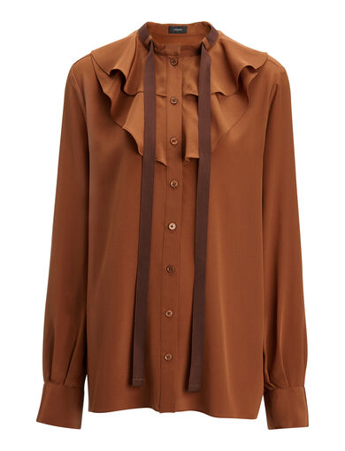 Crepe de Chine Piper Blouse, in RUST, large | on Joseph