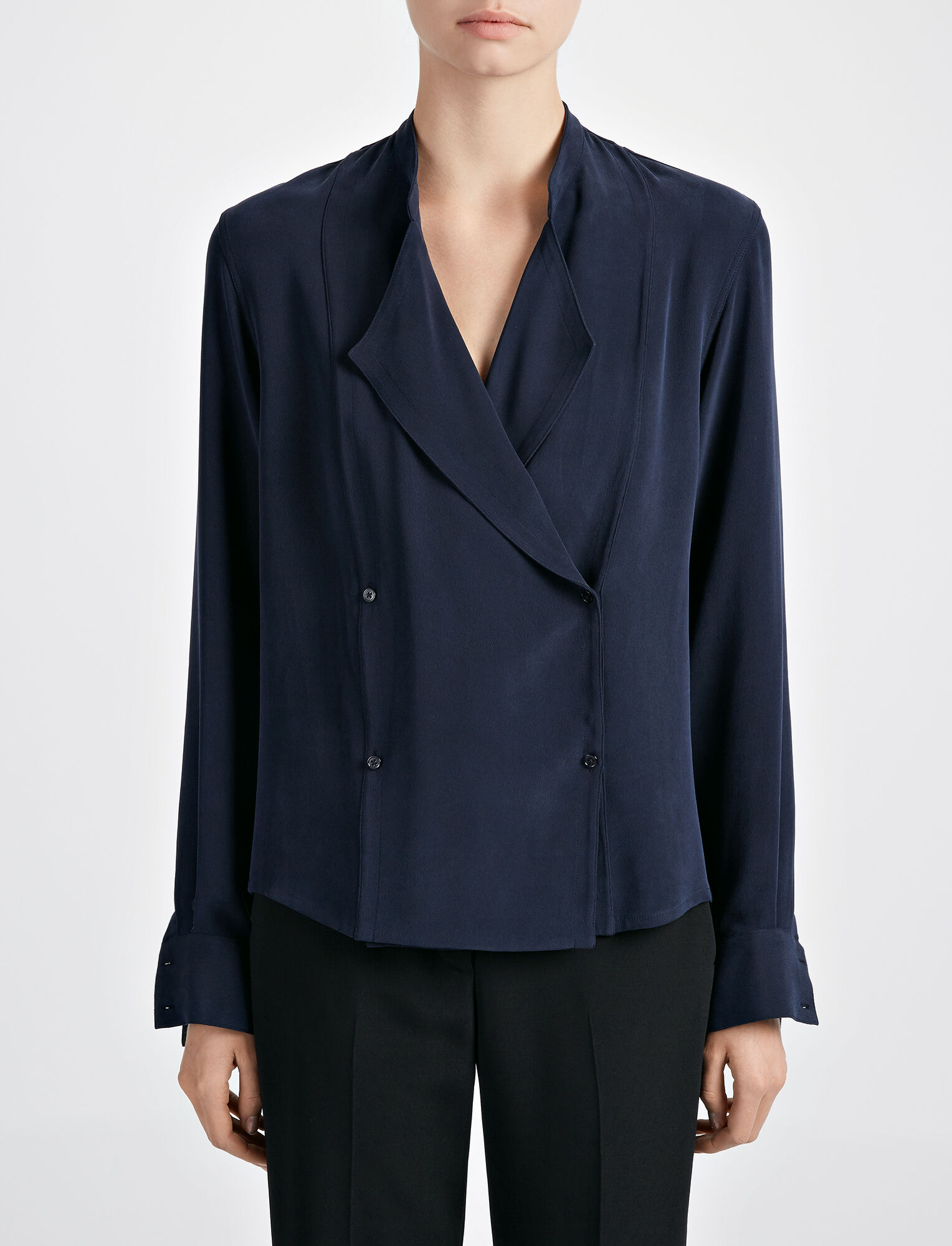 Joseph, Matt Silk Jerry Blouse, in NAVY