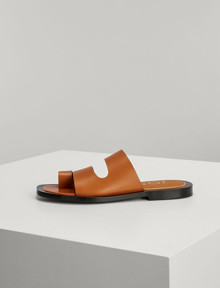 Joseph, Leather Santorini Slides, in BROWN