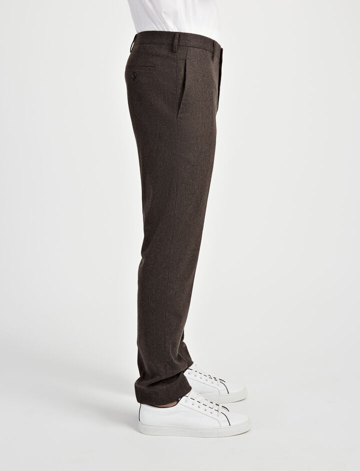 Small Stripe Jack Suiting Trousers, in BROWN, large | on Joseph